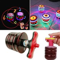 Wholesale toy led flash music - Fidget spinner Kids toys Musical Gyro Flash LED Light Colorful Spinning Imitation wood gyro glitter 7 color music light ground toy factory