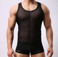 Wholesale Black Sheer Tank Top - Sexy Men Tank Tops Summer See Through Mesh Tops Men Sexy Breathable Tops Homme