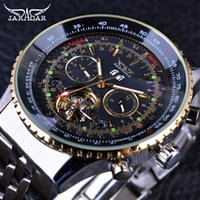 Wholesale New Jaragar Watches - Jaragar 2017 Flying Series Golden Bezel Scale Dial Design Stainless Steel Mens Watch Top Brand Luxury Automatic Mechanical Watch
