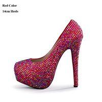 bombas de brilho vermelho venda por atacado-Espumante Vermelho AB Cor do Casamento Sapatos de Salto Alto Lindo Pedra Bombas de Noiva Sapatas de Vestido Formal Cerimônia de Aniversário Bombas