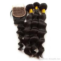 costura de cabelo peruana venda por atacado-Costurar de alta Qualidade Em Cabelo Humano Weave 1b Peruano solto ondulado Weave costurar ins com fecho de renda