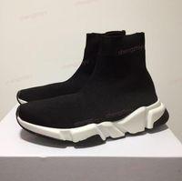 alta qualidade sapatos casuais venda por atacado-2019 Nova Paris Formadores de Velocidade Malha Meia Sapato Designer de Luxo Original Das Mulheres Dos Homens Tênis Baratos Alta Qualidade Superior Sapatos Casuais Com Caixa