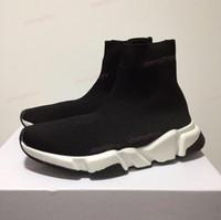 new box shoes toptan satış-2019 Yeni Paris Hız Eğitmenler Örgü Çorap Ayakkabı Orijinal Lüks Tasarımcı Mens Womens Sneakers Ile Ucuz Yüksek Top Kalite Rahat Ayakkabılar kutu