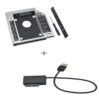 Wholesale Esata Sata Cable - Universal Aluminum 2nd HDD Caddy 12.7mm SATA 3.0 HDD Box For 2.5''7  9 9.5 12.5mm SSD DVD-ROM Optibay + USB to SATA Cable