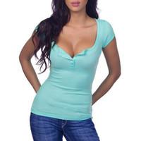 kadınlar seksi tişört yaz toptan satış-Seksi Kadın T Shirt Derin V Boyun Düğmesi Pamuk Yaz Temel Üst Giyim Ile Kısa Kollu