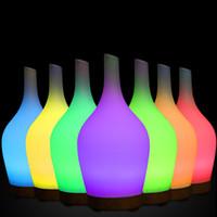 ingrosso vaso ad umidificatore a ultrasuoni-Diffusore di olio essenziale di aroma di forma di vaso di vetro, umidificatore di aromaterapia ultrasonico di nebbia leggera da 100ml con luce di LED cambiata di 7 colori