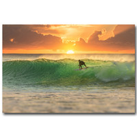 Wholesale Paintings Ocean Waves - Wholesale-NICOLESHENTING Sunset Surfing Ocean Wave Fantasy Art Silk Poster Print 13x20 24x36inch Landscape Pictures Home Wall Decor 004