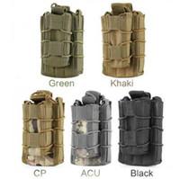 Wholesale plain football tops - 5 Colors Outdoor Tactical Bag Unisex MOLLE Tactical Open Top Double Decker Single Rifle Pistol Mag Pouch CCA9501 50pcs