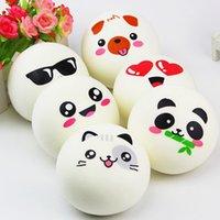pão de pão bonito venda por atacado-Squishy 10 cm Kawaii Jumbo Squishy Emoji Rosto Panda Porco Pães Pão Saco Celular Strap DIY Decor Animal Bonito Charme Padrão Aleatório