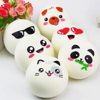 tier brot brötchen matschig großhandel-Squishy 10cm Kawaii Jumbo Squishy Emoji Gesicht Panda Schwein Brötchen Brot Tasche Handy Strap DIY Dekor Niedlich Tier Charme zufällige Muster