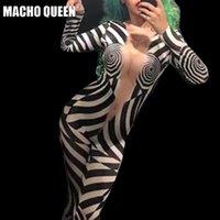 geometrische kostüme großhandel-Drag Queen Kostüme Geometric Print Bodysuit Overall Promi Sängerin Bühnen Wear Runway Frauen Outfit Geburtstag Party Wear