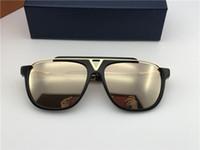 mavi maskotlar toptan satış-Popüler moda erkekler vintage tasarımcı güneş gözlüğü MASKOT kare 18 k altın metal kombinasyonu çerçeve en kaliteli anti-UV400 lens ve mavi kutu 0936