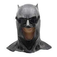 batman mardi gras al por mayor-Hanzi_masks Justice League Látex Batman Mask Cosplay Superhéroe Bruce Wayne Movie Party Máscaras Casco Ball Props Accesorios de disfraces