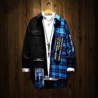ingrosso abbigliamento giapponese di cotone-Camicia a quadri manica lunga patchwork uomo Camicie hip-hop in cotone Abbigliamento uomo 2018 Camicia da uomo coreana di moda giapponese streetwear 5na117