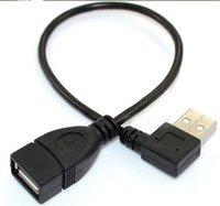 usb angle male cable venda por atacado-USB A fêmea para USB Um cabo adaptador macho em ângulo reto FM 0.25m