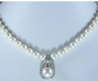 Wholesale 12 mm chain for sale - Group buy simple design mm white pearl necklace mm inlay pearl pendant