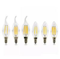 vintage led al por mayor-Bombillas LED Candel Base LED Filamento Llama Vintage Vela Bombilla para el hogar Comedor Dormitorio Sala de estar 2W 4W 6W luces led