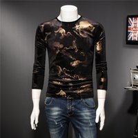 Wholesale chinese long pipes for sale - Group buy 2018 autumn new men s bottoming shirt Chinese style Korean version of the tide Slim gilded pattern round neck long sleeved T shirt male