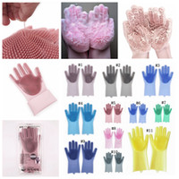 Wholesale fall bedding online - 2pcs pair Magic Cleaning Brush Silicone Glove Resuable Household Scrubber Anti Scald Dishwashing Gloves Kitchen Bed Bathroom Tools MMA940