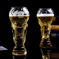 Wholesale football glasses - 2018 World cup football fans gift glasses cup heat resisting championship trophy 450ml bar bear mug