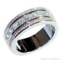 ingrosso raccordo in pietra di gemma-Gioielli di moda 10KT Bianco riempito di zaffiro bianco Gemma di diamanti CZ Fascia di pietra laterale Elvis Presley's Aloha di anelli di fidanzamento per le donne Cocktail