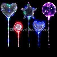 top şeklinde balonlar toptan satış-Toptan Şeffaf Bobo Balon Kabarcık Topu Hollow Out Kalp Şeklinde Kabarcık Balon Ile LED Işık Müzikal Kolu Of Parti Dekorasyon