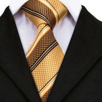 gravatas amarelas para homens venda por atacado-Laços de luxo para Mens Ouro Amarelo Listrado Jacquard De Seda Gravata Hanky Abotoaduras Set Laços de Casamento de Negócios Para Homens
