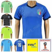 jersey italia al por mayor-Italia Fútbol 21 Andrea Pirlo Jersey Italia 2018 Copa del mundo 16 DE ROSSI Kits de camiseta de fútbol 10 INSIGNE 8 MARCHISIO Portero 12 SONNA RUMMA