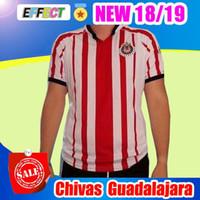 Wholesale authentic shorts - New Arrived 17 18 MEXICO Club Classic Chivas de Guadalajara Home Soccer Jersey 2018 Authentic Champion Camiseta de Futbol Football Shirts