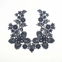 parche de encaje al por mayor-parches de cuello de tela Trim Neckline apliques para el vestido / boda / camisa / ropa / bricolaje / flor de coser Floral hoja de encaje blanco negro