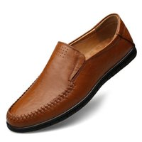Wholesale breathable slip shoes online - Hot Sale Summer Mens Shoes Leather Mens Casual Shoes Brown Soft Bottom Big Size