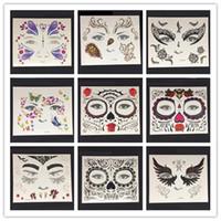 Wholesale magic eye art resale online - Halloween Cosplay Tattoo Sticker Halloween Decorations Waterproof Magic Eye Face Temporary Tattoos Body Art Fake Taty
