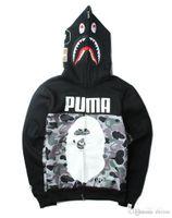 siyah hırka toptan satış-Erkekler 'S Moda Siyah Kapşonlu Hoodies Kamuflaj Fermuar Hoodies Moda Hırka Eğlence Ceket Popüler Marka Japon Yaka Polar Hood