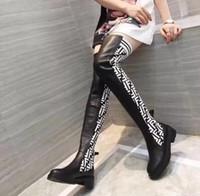 носки для похудения оптовых-Роскошные дизайнерские носки Женские сапоги 24 дюйма тонкий над коленом высокие сапоги вязаные сексуальная эластичная мода бедра плоский каблук дамы зимние сапоги