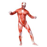 atacar titan zentai al por mayor-Trajes de Cosplay de Ataque en Titán Lycra de Spandex Traje de la segunda piel apretado Traje de cuerpo completo de Músculos Adultos Bertolt Hoover Zentai