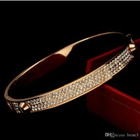 Wholesale 316 Stainless Steel Jewelry Wholesale - Lover Bangles Rivet 316 L Titanium Stainless Steel Full Crystal Bangles Bracelets Fashion Jewelry For Women and Men
