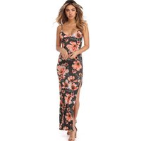 vestido sem costas x venda por atacado-X 2018 verão mulheres longo dress estilo boho impressão floral longo maxi beach dress sexy backless bandage bodycon party dress vestidos