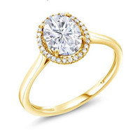 Wholesale moissanite yellow gold - 18K Yellow Gold 1.5Ct Fashion Forever Brilliant New Created Moissanite Ring