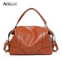 Wholesale leather hobo shopping bags online - ACELURE Classic Soft Leather Handbags Big Women Tote Zipper Ladies Shoulder Bag Girl Quality Hobos Bags New Arrival Shopping Bag