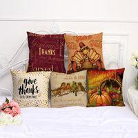 ingrosso ringraziamenti per dare regali-44CM Thanks Giving Days Gifts Fodera per cuscino Divano Fodere per cuscino Materiale in cotone di lino 7 stile all'ingrosso Federa