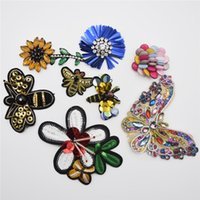 Wholesale Sew Rhinestones Patches - 10pcs Handmade Beads Crystal Sew on Patches Strass Rhinestones Applique Trim