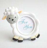 nuevos marcos de fotos de diseño al por mayor-100 unids / lote NUEVA LLEGADA Lovely Sheep Design Picture Frame Photo Holder Baby Shower Favors regalo de la fiesta de cumpleaños