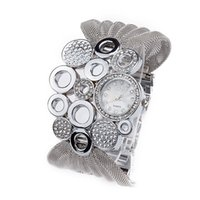 neue marke goldene uhr großhandel-Neue Marke Ellipse Mesh Mode Silber Braun Uhr Europäischen Stil Diamant Dekoration Armbanduhr Frauen Kleidung Zubehör Goldene Uhren