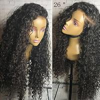 doğal kıvırcık afro peruk toptan satış-Ucuz Doğal Yumuşak Peruk 1B # 150% Uzun Siyah Afro Kinky Kıvırcık Sentetik Peruk Isıya Dayanıklı Gluelese Dantel Ön Peruk Siyah Kadınlar için