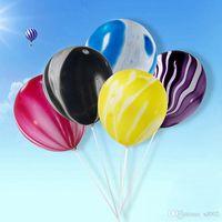 achatmuster groihandel-Schillernde Wolke 12 Zoll Achat Muster Ballon Latex heiraten Hochzeit Dekoration Party alles Gute zum Geburtstag Anordnung liefert 3 5hb bb