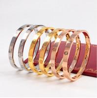 pulsera para hombre diamantes al por mayor-Brazalete de los amantes de los hombres y las mujeres Pulsera de anillo eterno de 18 quilates de oro rosa, titanio y acero titanium no se desvanece