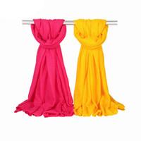 простые белые шарфы для женщин оптовых-Подарок Пашмины Шаль Негабаритных Шарф Зимний Echarpe Hiver Femme 170x60 см Хлопок Смеси Длинный Хиджаб для Женщин