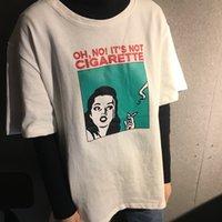 ingrosso camicia libera di modo di stile coreano-T-Shirt da donna a maniche corte oversize di base oversize di base con caratteri geometrici in stile coreano stampato Nuova moda