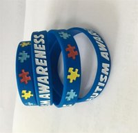 браслеты оптовых-Аутизм осведомленности силиконовые браслеты резиновые браслеты заполненные чернилами силиконовые браслеты браслеты для подарков дети взрослые украшения