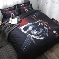 skull bedding venda por atacado-Frete grátis! Nova pintura 3d caveira pirata conjunto de cama sem o enchimento 3/4 pcs têxteis lar gêmeo rainha cheia tamanho